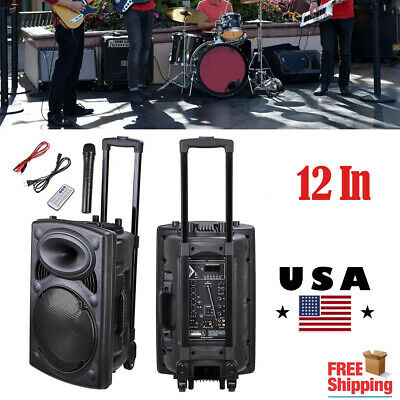 "1500W Portable Bluetooth PA Speaker System 12"" w/Remote DJ Speaker Wireless Mic"