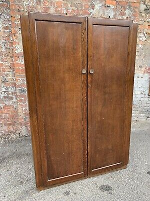Mid-Century Vintage Large Oak Double Ladies Wardrobe - Two-Door Oak Wardrobe