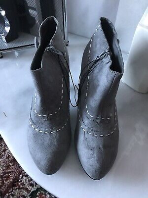 Lovely Ladies Grey Suede Ankle Boots Size 5 BNWT