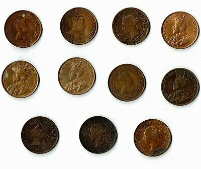 11 LOT CANADIAN LARGE CENTS Circulated 1888 through 1919