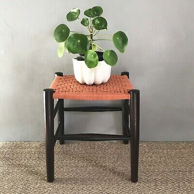 Vintage stool with woven cotton cord seat, newly restored and upholstered