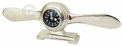 """6"""" Antique Brass World Map Clock With Stand Nautical Leather Desk"""