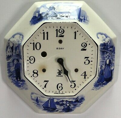 Miller 8 Day Delft Ornate Octagon Ceramic Plate Wall Clock