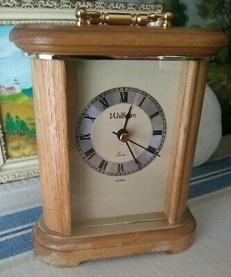 Waltham Solid Oak & Brass Mantle Desk Shelf Sitter Quartz Clock