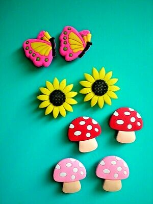 Garden Clog Shoe Charm Button Pin Plug Accessories Mushroom Sun Flower Butterfly