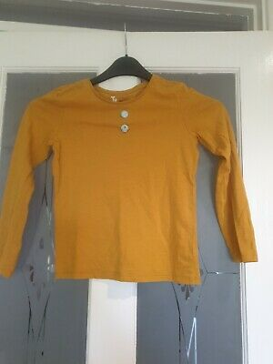 Girls Mustard Coloured Long Sleeved Cotton Top Age 8 Years