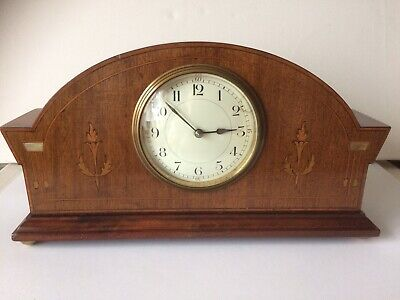 Victorian/Edwardian French Mother Of Pearl Inlaid Mahogany Clock Working Order