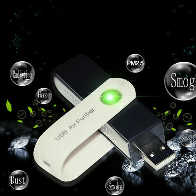 USB Car Air Purifier Dust Allergy Smoke Ioniser Humidifier Odour Remover Cleaner