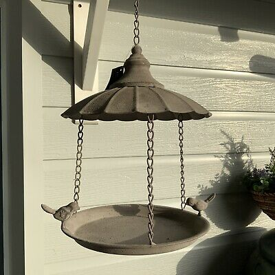 Antique Chic Style Hanging Tray Bird Feeder Parasol Vintage Metal French Grey