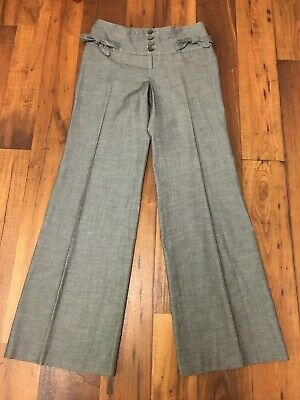 Women's elevenses From Anthropologie Size 4 Wide Leg Gray Cotton Dress Pants