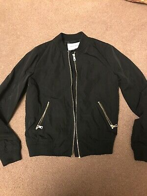 Ladies Girls River Island Black Bomber Jacket Size 10