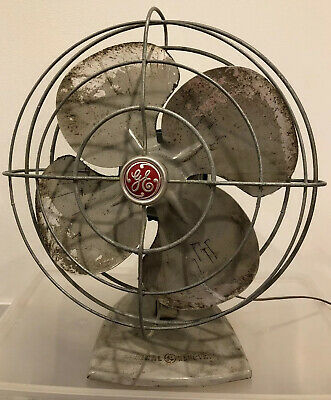 Vintage 1950's Blue GE General Electric Oscilliating Fan Very Good Condition