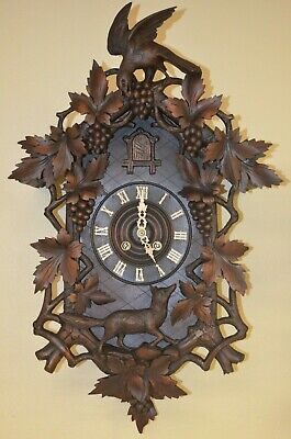 Antique German Black Forest G.h.s. Spring Driven Eagle/Fox Cuckoo Clock 1800'S
