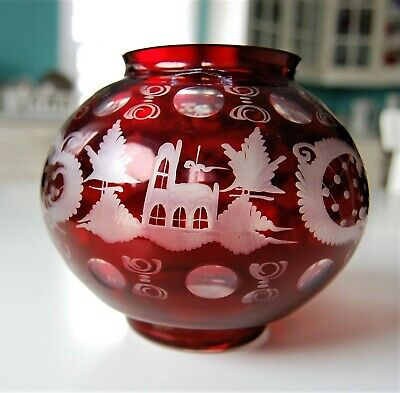 Vintage Ruby Red Cut to Clear Czech Bohemian Sphere Globe `Vase 13cm Tall