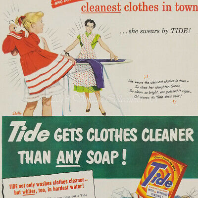 1951 TIDE LAUNDRY SOAP Vintage Look REPLICA METAL SIGN MOM IRONS DAUGHTERS JEANS