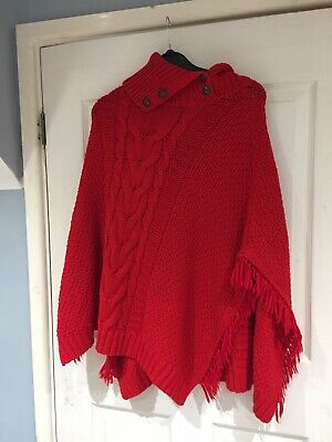 Girl's Age 11-12 Years Red Knitted Shawl By Next