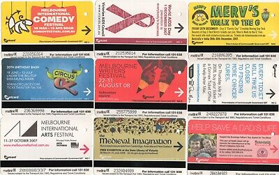 """AUSTRALIA:-  9 different 1 off types of Melbourne """"METCARD"""" tickets AP7860"""