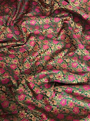 "1 MTR PURPLE//HOT PINK//GOLD FLORAL PRINT BROCADE FABRIC 45"" SPECIAL OFFER"