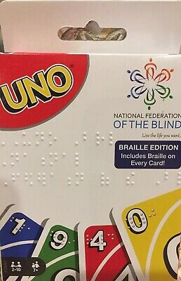 Uno Card Game Braille Edition National Federation Of The Blind New Free Shipping