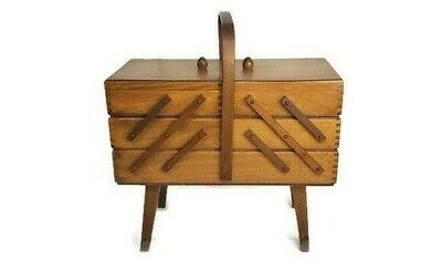 Vintage Romania 3 Tier Fold Out Wood Dovetailed Sewing Box, Storage Box w/Handle