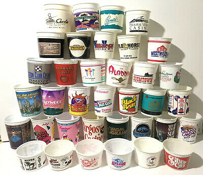 Collection 36 Different Casino Chip Cups Coin Buckets Some Defunct Monte Carlo