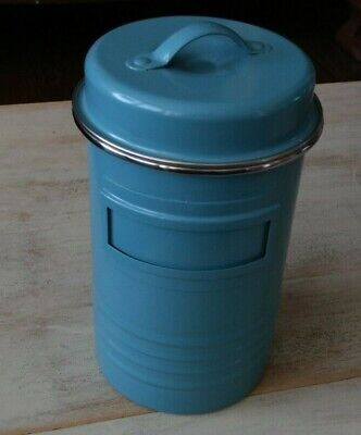 """TYPHOON VINTAGE KITCHEN blue canister w/ lid 8"""" tall EXCELLENT"""