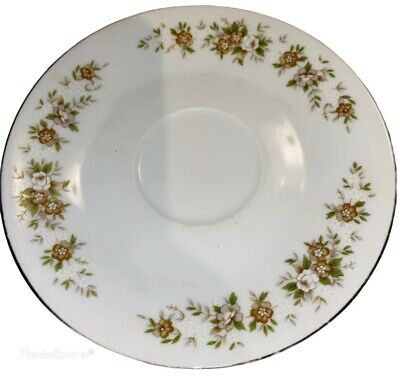 """Vintage Diamond China """"Suffolk"""" 6 Inch Saucer Made in Japan Brown Tan Floral"""