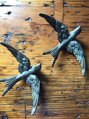 Two Vintage Brass Swallows