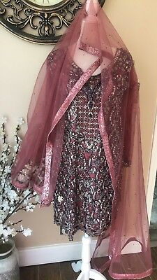 BN Pakistani Indian Bridal Salwar Kameez Anarkali Lengha Wedding Heavy Plum M/S