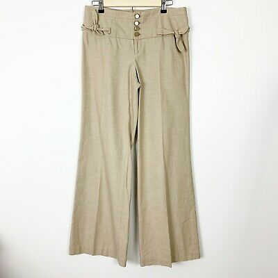 Anthropologie Elevenses Pants Size 6 Tan Womens Wide Leg High Rise Button Tie
