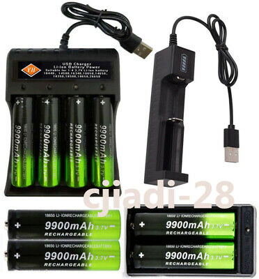 9900mAh Powerful 18650 Battery 3.7v Li-ion Rechargeable Battery+USB Charger Set