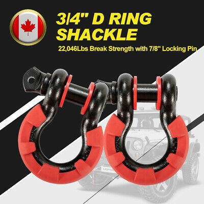"2Pcs 3/4"" D Ring Steel Shackles Black w/Isolator Washer Red 7/8"" Locking Pin"