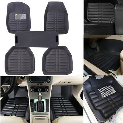 5X/set universal grey car floor mat auto floor liner leather carpet mat Non-sPER