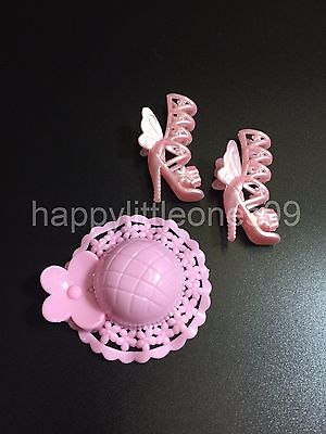 1x Doll Hat and 1 pair Doll Shoes for Barbie Dolls Brand New Pink Butterfly