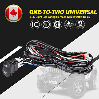 One-To-Two LED Light Bar Wiring Harness Kits 24V/40A Relay ON-OFF Rocker Switch