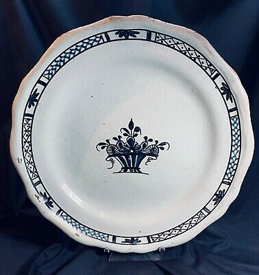 "Early 18th Century French Rouen Faience 12.5"" Platter- Rare!"