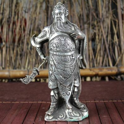 China old Feng Shui ornaments white Copper Silver plating  Guan gong Statue