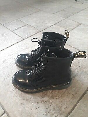 Dr Martens Air Wair Authentic Girls Ankle Boots Size Junior 1 Black Laceup & Zip