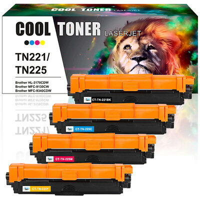 4 Pack Toner Cartridge for Brother TN221 TN225 Hl-3170CDW MFC-9130CW MFC 9340CW