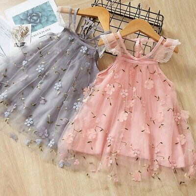 Toddler Kids Baby Girls Fly Sleeve Embroidery Floral Tutu Princess Dress Clothes