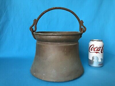 Antique Primitive Hand Forged Brass Pot Kettle Rustic Iron Handle