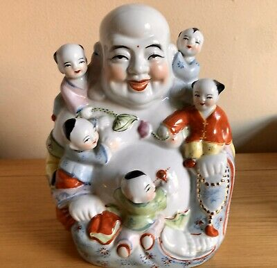 Beautiful Antique Vintage Lucky Fertility Laughing Family Buddha with Children