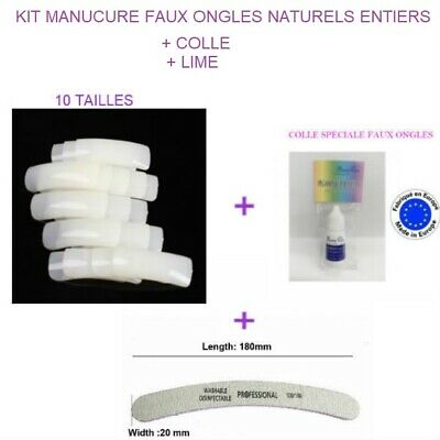 Kit Faux Ongles Naturels Capsules Tips A Coller Nail Art Manucure + Colle + Lime