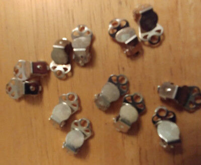 6 pairs of shiny silver clip on earring flat base