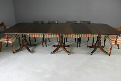 Large Triple Pedestal Regency Style Mahogany Dining Table