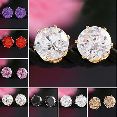 Unisex Fashion Elegant Sparkling Round Zircon Inlaid Ear Studs Earrings Jewelry#