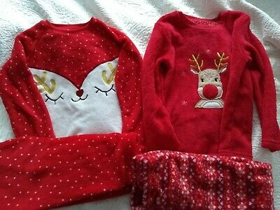 Age 7-8 years girls 2 pairs fleece Primark pyjamas red & white. VGC.