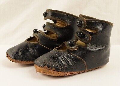 Antique Victorian Black Leather Button Bar Boots Baby Toddler Shoes