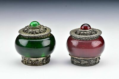 Beautiful Pair of Chinese Glass and Silver Plate Ring or Patch Boxes.
