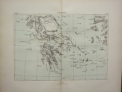 c1890 ANTIQUE MAP ~ GREECE ~ ATHENS MOREA GULF OF CORINTH EUBEA NAXOS